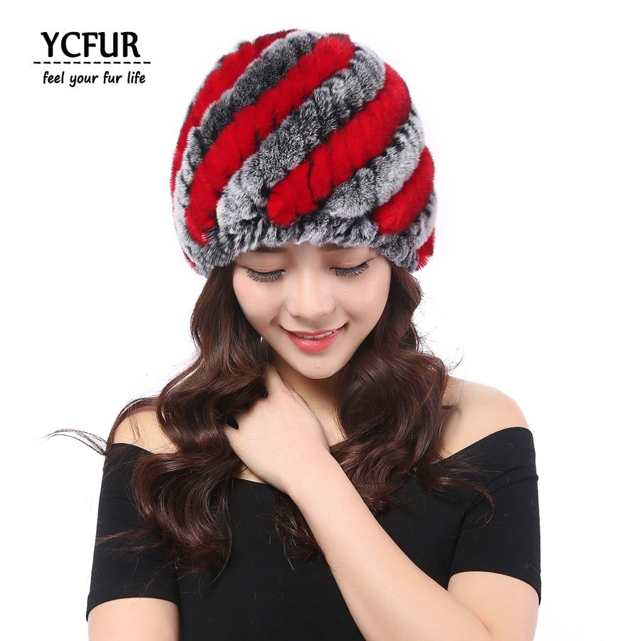 YCFUR Winter Hats Women Soft Warm 13 colors Genuine Rex Rabbit Fur Female Beanies Hats Natural Fur Women Caps Winter