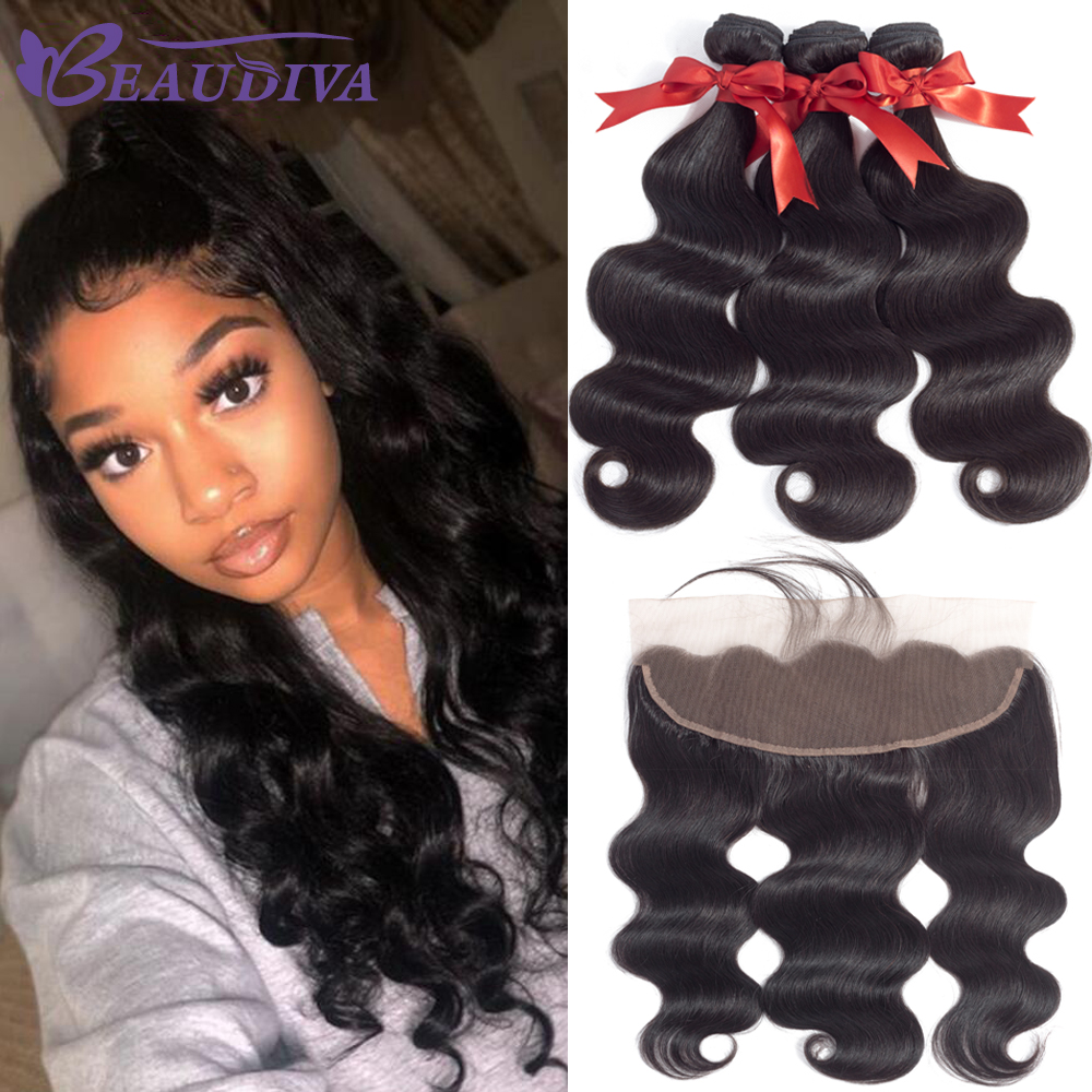 Indian Hair Weave Bundles With Frontal Beaudiva Hair Indian Body Wave Human Hair Bundles With Lace