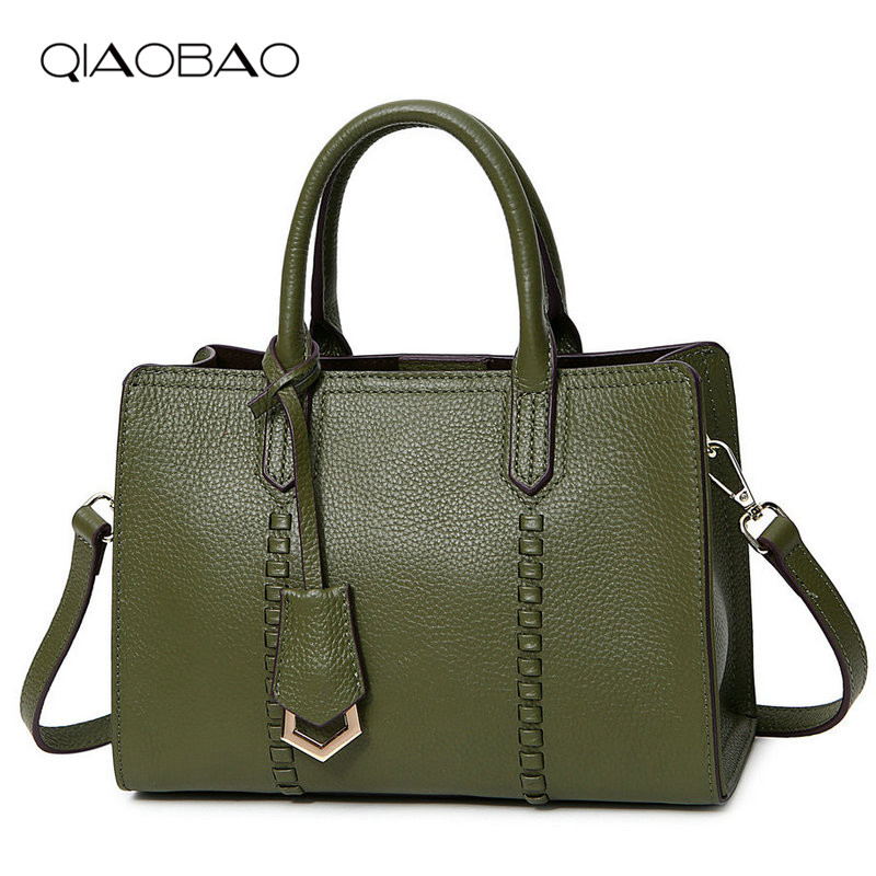 QIAOBAO 2018 Litchi Pattern 100% Soft Real Leather Women Handbag Female Shoulder Bag Girls Messenger bag Casual Women Totes qiaobao 2018 new korean version of the first layer of women s leather packet messenger bag female shoulder diagonal cross bag