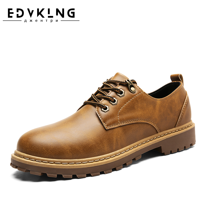 EDVKLNG Brand Autumn Winter Mens Boots, Fashion Lace Up Man Shoes Ankle Boots For Men, Warm Fur Casual Mens Shoes men shoes new autumn fashion men casual shoes lace up warm brand winter shoes mixed color high top flat with mens shoes