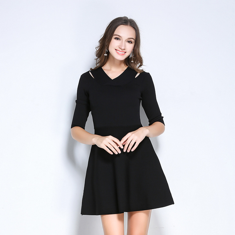 Autumn Sweater Dress Sexy 2017 Fall Fashion Women Clothing Womens Winter Office Party Knitting Plus Size Black Vintage Dresses