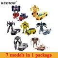 New hot 7 pcs brinquedo hero hero transformação robô carros deformação robô figuras de ação brinquedos de presente para o menino