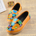 2016 New Arrival Flower Print Women Flats Shoes,Classic Casual Oxfords Shoes Slip-On Shoes For Women