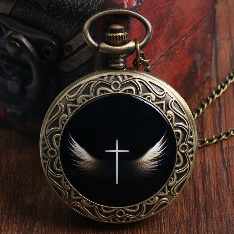 Antique Cool Cross With Wings Design Bronze Pocket Watch Black Fob Watch With Necklace Chain