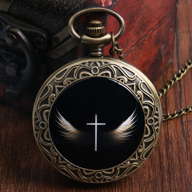 Antique Cool Cross With Wings Design Bronze Pocket Watch Black Fob Watch With Ne