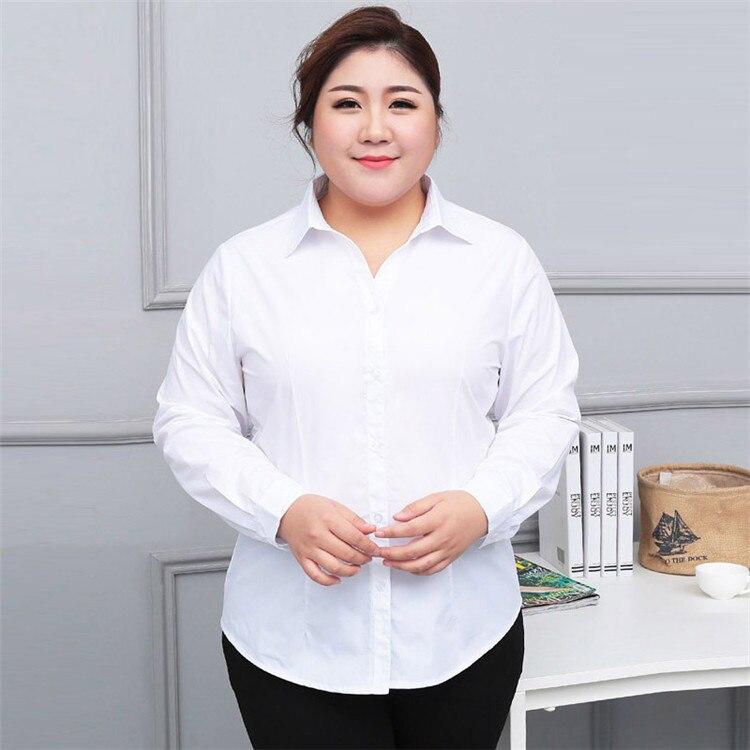 04d8c51e2d419 Formal White Blouse Women Plus Size Long Sleeve OL Lady Work Shirts  Femininas Blue Office Blouses Ladies Extra Large 10XL 130KG