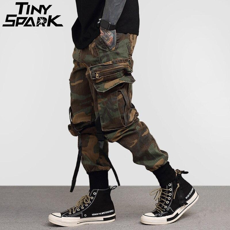 2018 Mens Hip Hop Pantalon Côté Poches Vintage Camouflage Cargo Pantalon Streetwear Casual Harem Pantalon Militaire Tatical Pantalon Lavé