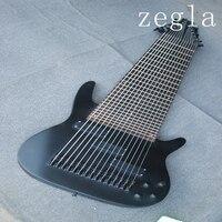 Заказная 15 струнная бас гитара, полное соединение тела, классический прозрачный черный, черные аксессуары, Бесплатная доставка.