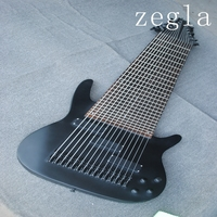 Custom 15 string bass electric guitar, full body connection, classic transparent black, black accessories, free delivery.