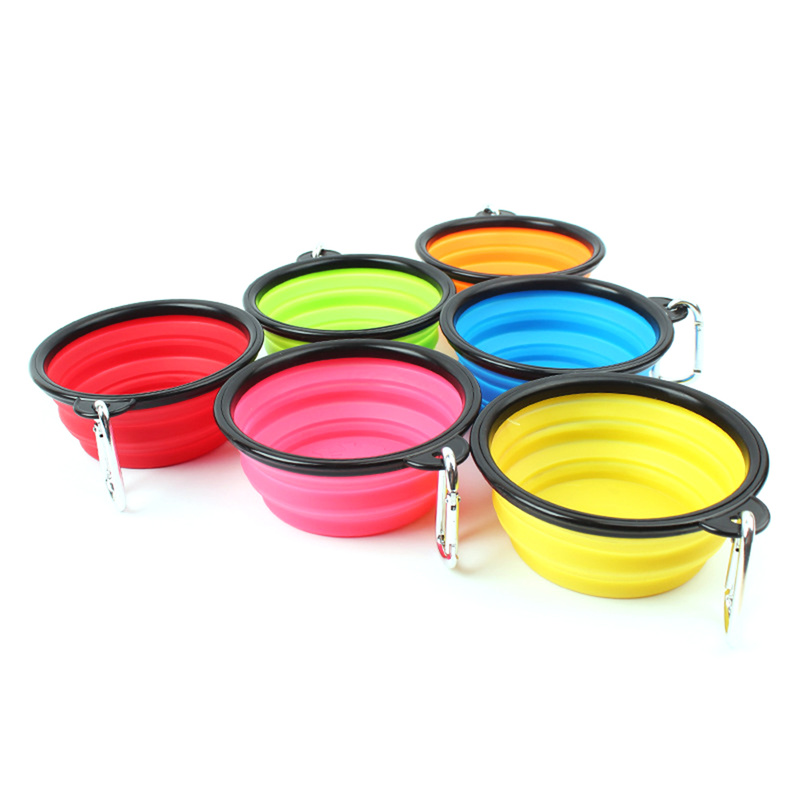 Outdoor Travel Portable Puppy Doogie Food Container Feeder Dish  New Collapsible Foldable Silicone Dog Bowl Candy Color On Sale