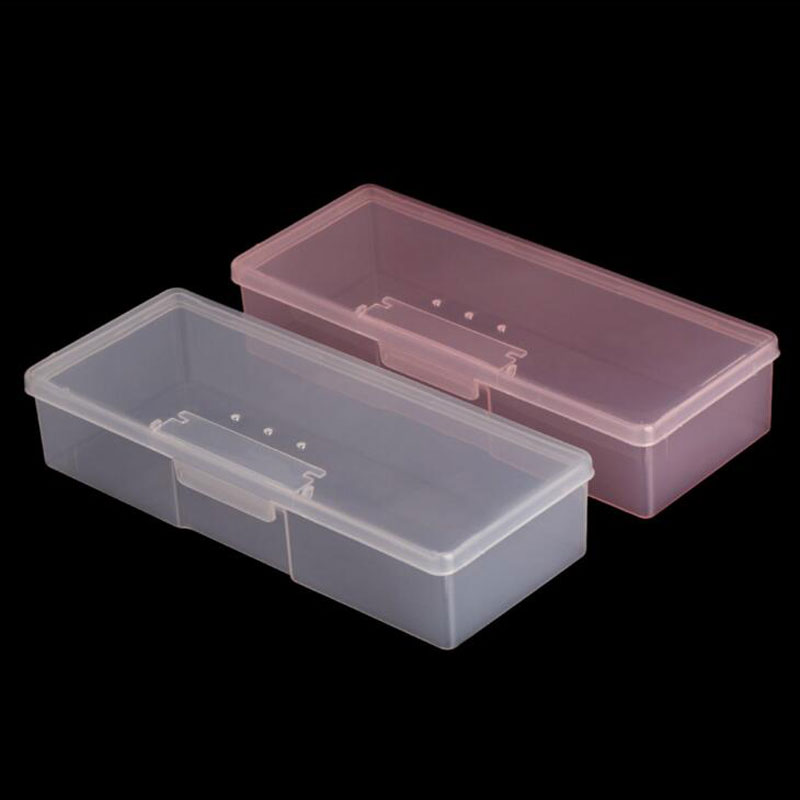 Nail Art Rectangle Plastic Transparent Storage Box Nail Rhinestone Brush Pen Buffer Grinding Files Container Case 193x77x39mm