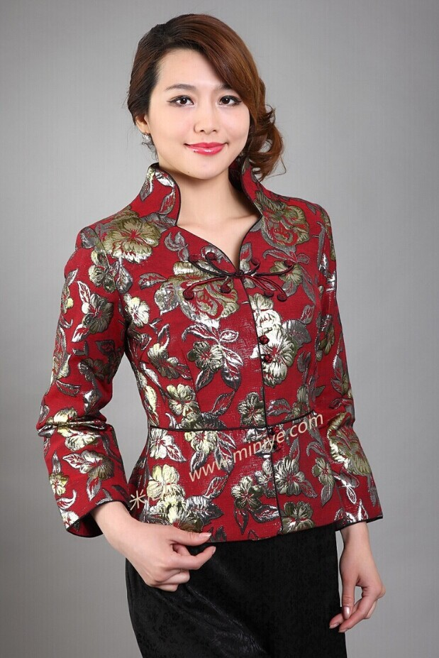 Red Vintage Chinese style Women's Silk Satin Jacket Coat Long Sleeves Flowers Size S M L XL XXL XXXL Free Shipping Mny06-A 2013 new style red mens motorcycle jacket motorbike riding jacket suit with size s to xxxl free shipping