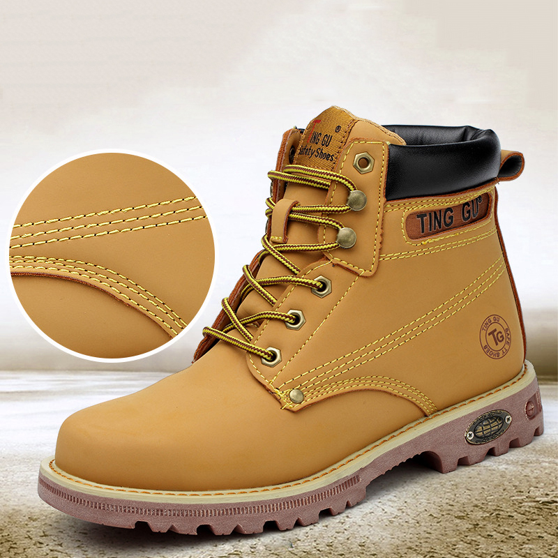 1952480c64a US $13.27 39% OFF 2019 Genuine Leather Men Steel Toe Cap Dr Martin Boots  Autumn Winter Work Safety Boots Solid Ankle Boots Punk Men Safety Shoes-in  ...