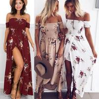 Print Dress Beach Bohemian Style Ankle Length Split Off The Shoulder Strapless Seaside Vacation Apparel Casual Wrap Elastic RA08