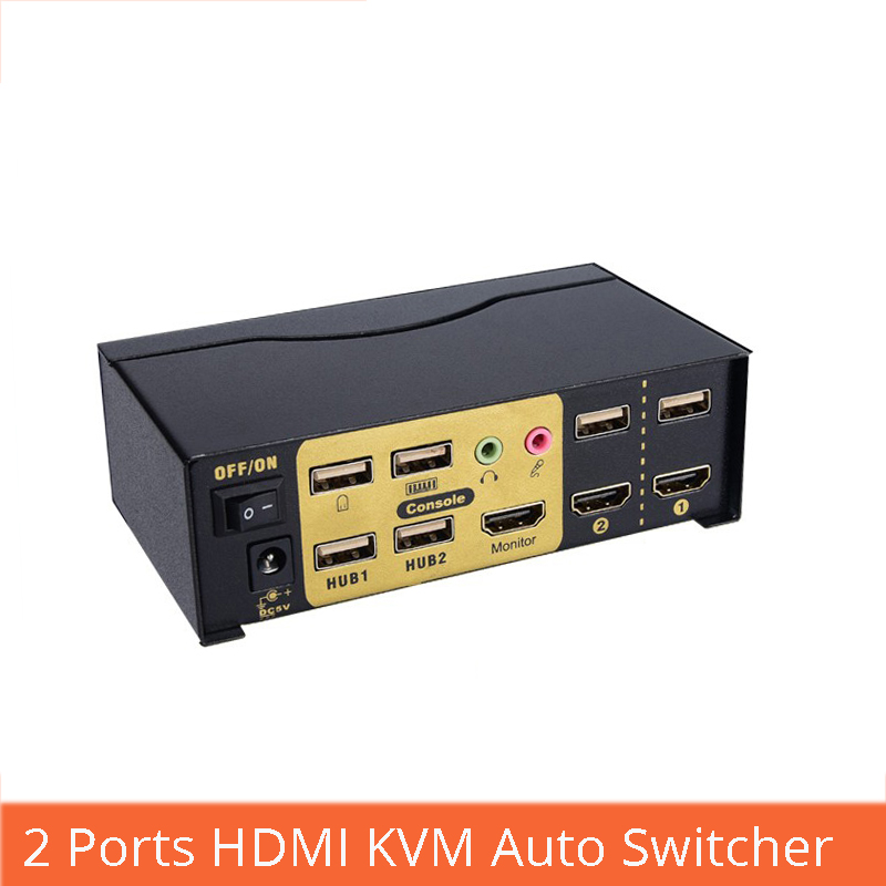 2 Ports HDMI KVM Auto Switch USB2.0 Mit Audio Splitter Maus Tastatur 4 Karat X 2 Karat HD HDMI Schalter With Power