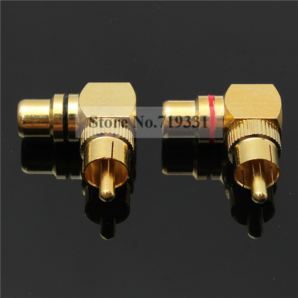 4pcs Gold Plated Right Angle RCA Adaptor Male to Female Plug Connector 90 Degree 20pcs rca 90 right angle male to female phono adapters audio av plug connector