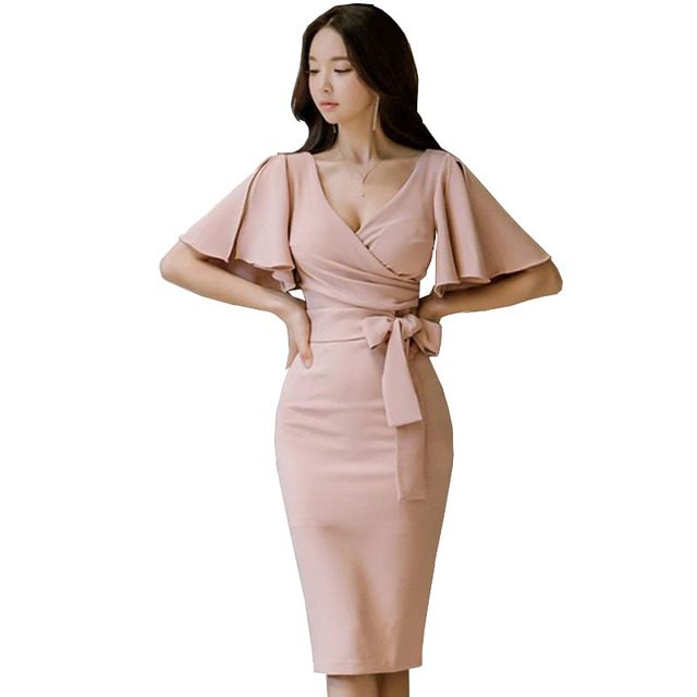 Spring Summer Fashion Nova Woman Brand Party Dress Vintage Sexy V Neck  Split Ruffles Sleeve Bowknow Pink Bodycon Luxury Dress 84a67f79a1a4