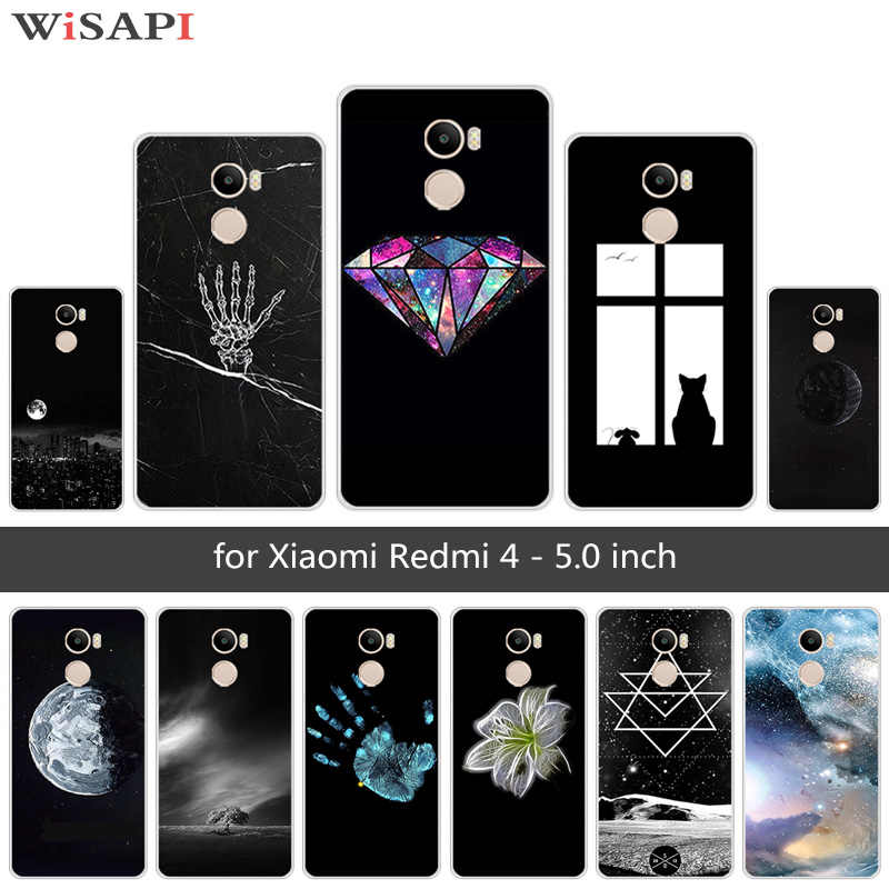 5.0นิ้วสำหรับXiaomi R Edmi 4ดวงจันทร์โทรศัพท์กรณีTPUนุ่มชัดเจนSilmซิลิโคนสำหรับXiaomi R Edmi 4 Redmi4กลับสีดำโทรศัพท์ปกสุ