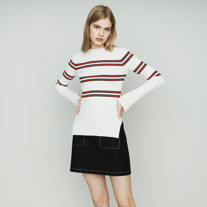 2019 New Women White and Red Striped Knitted Sweater Slim Split Pull Top