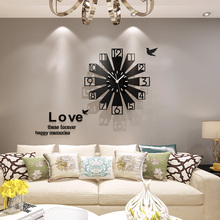 3D Geometric New Fashion Creative Large Wall Clock Modern Design Home Decorative Watch Wall Clocks Living Room Free Shipping creative geometric flower black wall clock modern design with wall stickers 3d quartz hanging clocks free shipping home decor