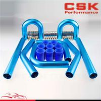 2 51mm Universal Turbo Intercooler Piping Pipe Kit + Blue coupler + T Clamps blue