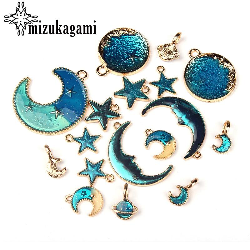 6 teile/los 2018 Neue Goldene Zink-legierung Blau Mond Sterne Charms Anhänger Für DIY Fashion Halskette Schmuck Ohrringe Zubehör