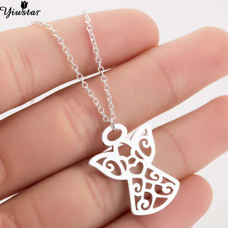 Yiustar Stainless Steel Charms Angle Necklace Women Jewelry Beautiful Moving Angel Pendants Necklaces Ras de cou femme Bijoux