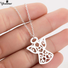 Yiustar Stainless Steel Charms Angle Necklace Women Jewelry Beautiful Moving Angel Pendants Necklaces Ras de cou femme Bijoux(China)