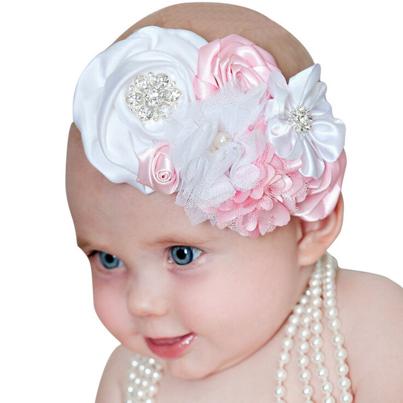 Newborn Hair Bands Rhinestone Lace Chiffon Pearl Diamond Kids Ribbon Flowers Headband Hair Accessories Photography props newborn flowers feather pearl headband kids flower lace headband headwrap hair bands hair accessories photography props gift