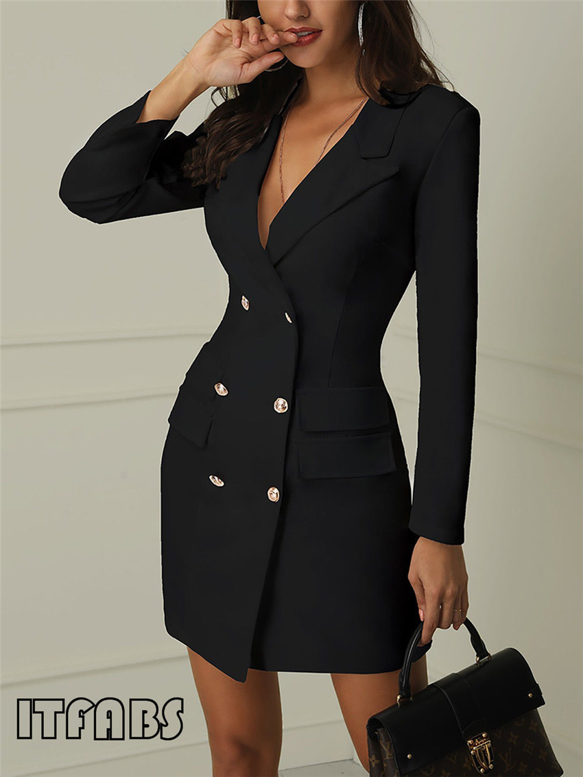 Women business Sexy Casual outwear women slim Button business dress women 7