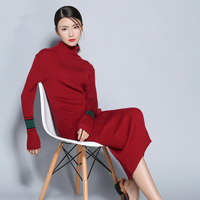 adohon 2018 womens winter Cashmere sweaters and auntmun women knitted Dresses Pullovers High Quality Warm Female Turleneck