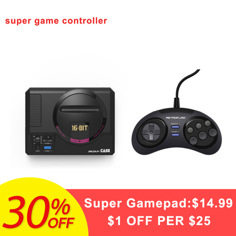 Hot Sale 16 Bit Retroflag MEGAPICASE Raspberry Pi MD Retro Games Case Video Consoles with Classic USB wired Gamepad Controller