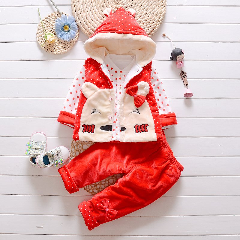 Child suit autumn and winter set 5 6 7 - 8 baby thickening wadded jacket thermal cotton-padded
