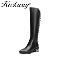 Kickway High Quality Knee High Boots Women Soft Leather Knee Winter Boots Comfortable Warm Fur Women Long Boots Shoes Plus sizes