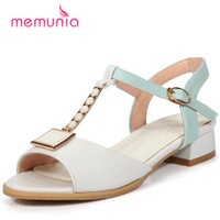 MEMUNIA 2018 New arrive med heels 3.5cm woman shoes big size 32 48 college style sandals party shoes buckle solid