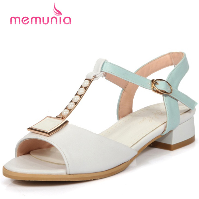 MEMUNIA 2018 New arrive med heels 3.5cm woman shoes big size 32-48 college style sandals party shoes buckle solid memunia 2017 fashion new arrive women high heels sandals classic peep toe buckle summer shoes solid street style big size 34 43