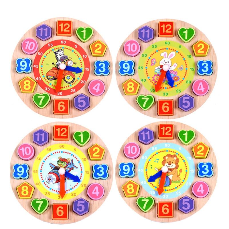Baby Wooden Toys Alarm Clock Children Cartoon Animal Model Digital String Montessori Early Education Educational Toys Gift