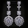 European Luxury  Earrings Heavy Cubic Zirconia Rhodium Plated Large Wedding Earrings for Women Factory Wholesale