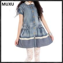 MUXU vintage dress blue denim dress women vestidos mujer embroidery blue retro womens clothing vestidos mujer womens clothing