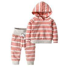 Oklady Newborn Baby Girl Clothes Pink Striped Long Sleeve Sweatshirt Hoodie Elastic Striped Pants Outfit Sets