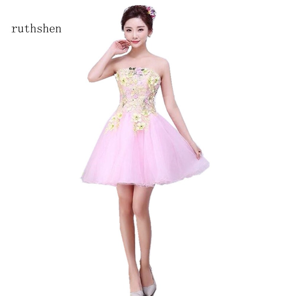 ruthshen New Arrivals Girls Fashion   Cocktail     Dresses   Strapless A Line Pink Party Prom   Dresses   Sleeveless With Appliques 2018
