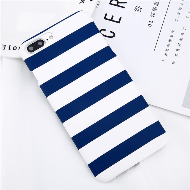 Lovebay Phone Case For iPhone 8 7 6 6s Plus 5 5s Fashion Black and White Stripes Hard Plastic Protect Cover Cases For iPhone 8  4