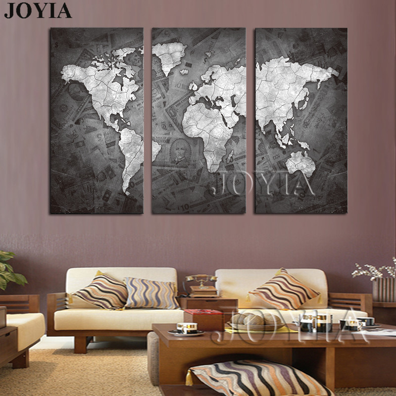 Large world map wall art canvas black metalic modern paintings globe large world map wall art canvas black metalic modern paintings globe maps on money background home decor poster 3 piece no frame in painting calligraphy gumiabroncs Gallery
