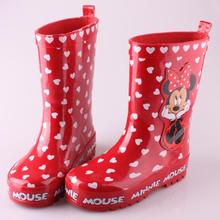Girls Rain Boots 2017 New Spring Brand Children Waterproof Shoes For Kids Girl Minnie Rubber Fashion Child Rainboots