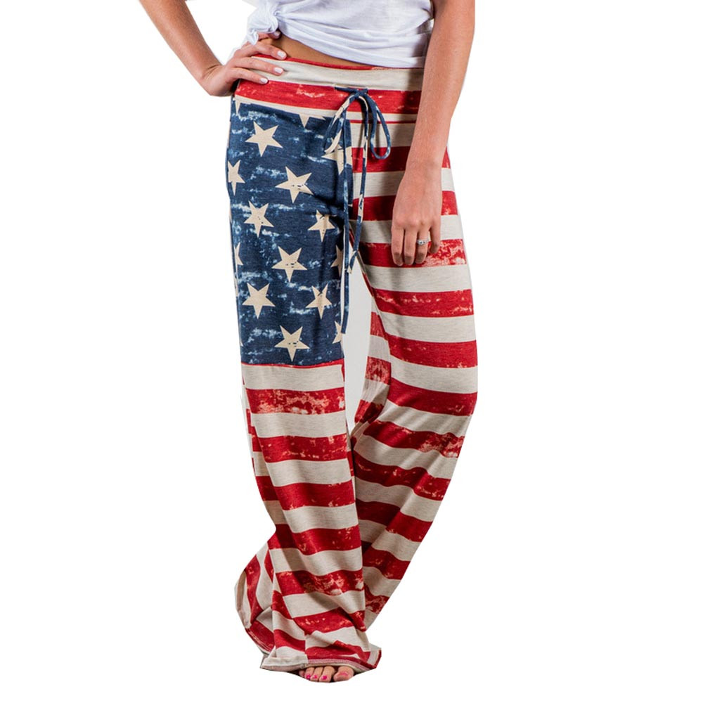 Women   Wide     Leg     Pants   American Flag Drawstring Leggings High Elastic Waist Vintage Hippie   Pants