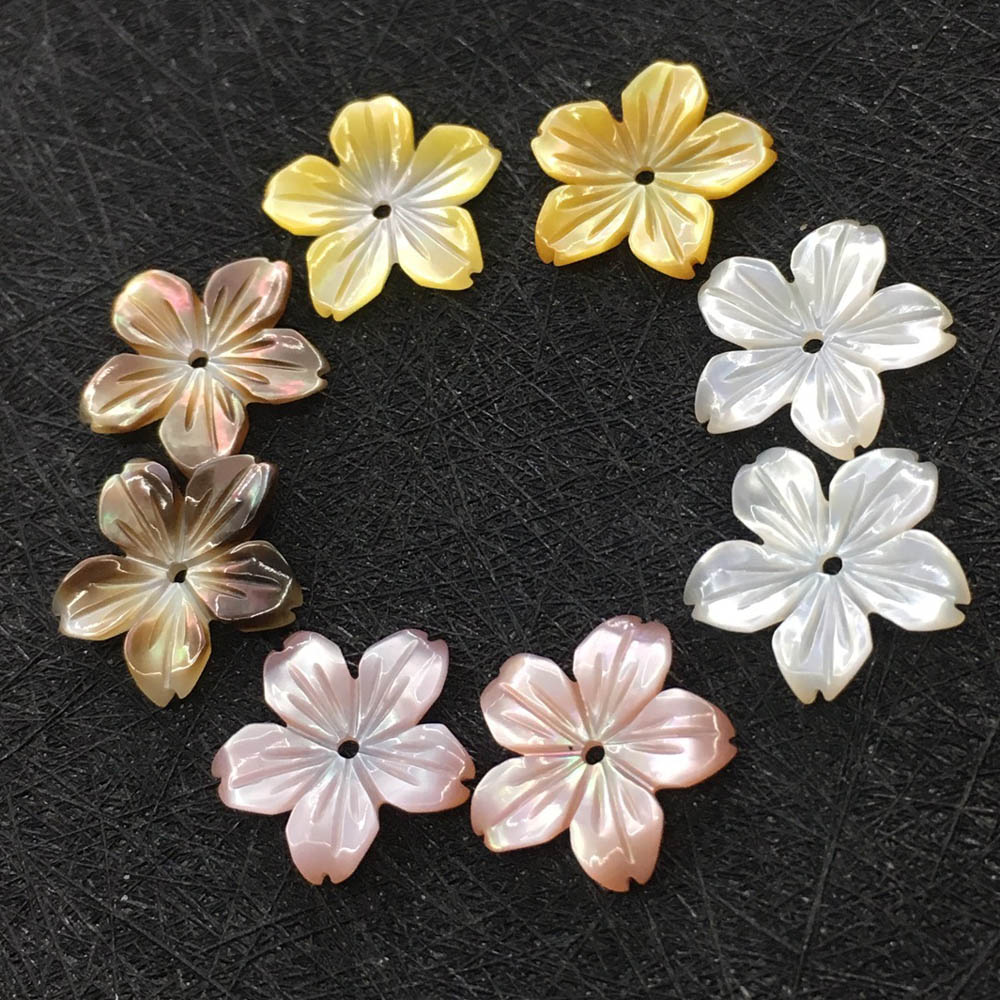 14mm Carved Shell Flower Beads Charms 5 Cut Petals Mother Of Pearl