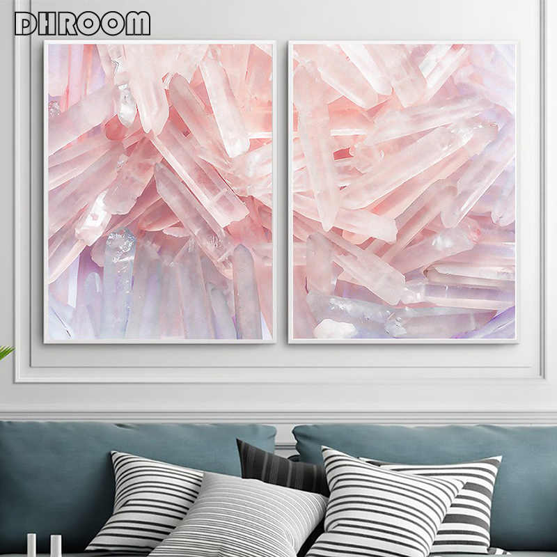 Set of 2 Crystal Marble Print Agate Wall Art Geode Mineral Canvas Art Painting Pink Blue Pastel Quartz Trendy Poster Wall Decor
