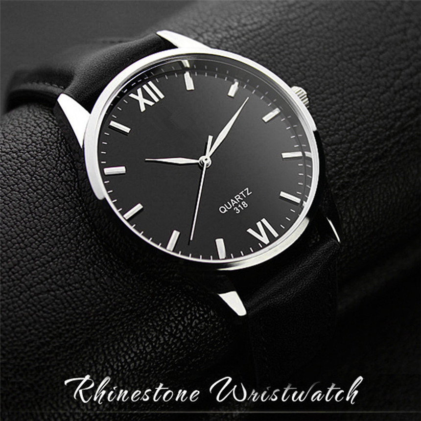 Famous Brand Men Watches 2018NEW Arrival Fashion Leather band Glass Analog Noctilucent High Quality Luxury Wrist Quartz Watch cocoshine a 693 high quality luxury men s watches analog quartz faux leather sport wrist dress watch wholesale free shipping