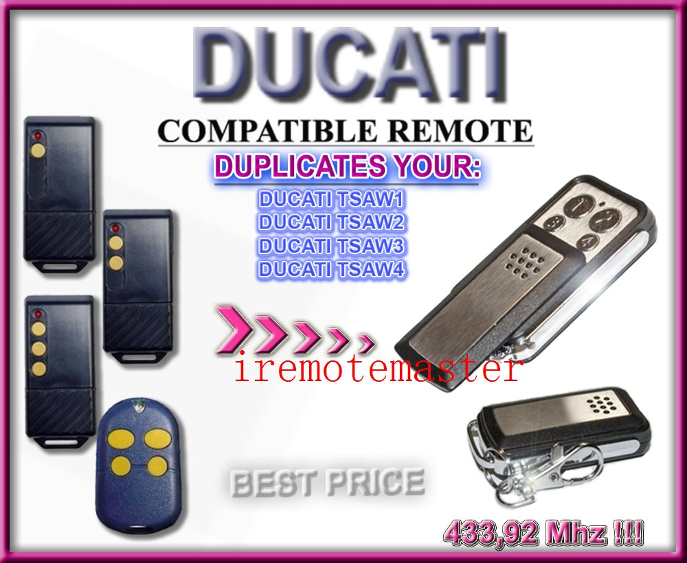 2 pieces/lot! High quality for Ducati tsaw1, tsaw2, tsaw3, tsaw4 compatible remote replacement2 pieces/lot! High quality for Ducati tsaw1, tsaw2, tsaw3, tsaw4 compatible remote replacement