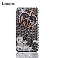 Laumans Top Luxury Rhinestone diamond Full pearl crown crystal case For Apple iPhone X 4s 5s 6s 6Plus 7 7 plus 8 plus case cover